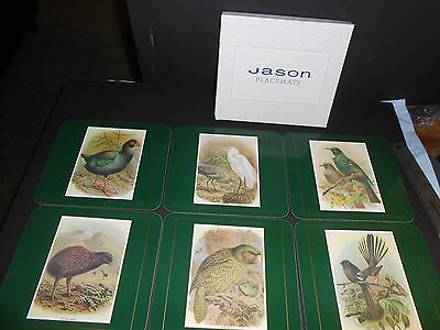 Jason Placemats 6 Small Mats All Different Birds of New Zealand Cork Backed