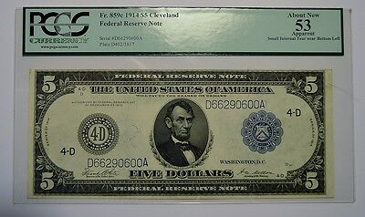 Fr. 859c $5 1914 Federal Reserve Note PCGS Choice About New 53