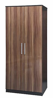 Lotus 2 Door Wardrobe High Gloss Walnut Black Oak Large Bedroom Furniture Range