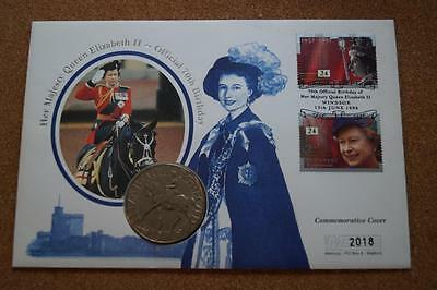 Coin Cover 1996 Queen Elizabeth II 70th Birthday 1977 with Crown coin (lot1)