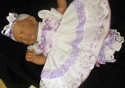 DREAM BABY GIRL LILAC SPOT FRILLY DRESS NB 0-3 3-6 6-12 12-18 18-24 months