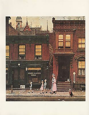 "1977 VINTAGE ""WALKING TO CHURCH"" by NORMAN ROCKWELL MINI POSTER COLOR Lithograph"