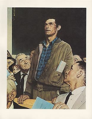 "1977 VINTAGE ""FREEDOM OF SPEECH"" by NORMAN ROCKWELL MINI POSTER COLOR Lithograph"