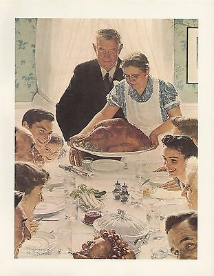 "1977 VINTAGE ""FREEDOM FROM FEAR"" by NORMAN ROCKWELL MINI POSTER COLOR Lithograph"