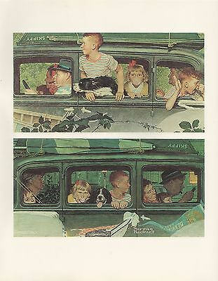 "1977 VINTAGE ""THE OUTING"" by NORMAN ROCKWELL MINI POSTER COLOR Lithograph"