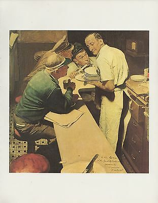 "1977 VINTAGE ""WAR NEWS"" DINER by NORMAN ROCKWELL MINI POSTER Color Lithograph"