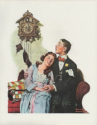 "1977 VINTAGE ""COURTING COUPLE AT MIDNIGHT NORMAN ROCKWELL MINI POSTER Lithograph"