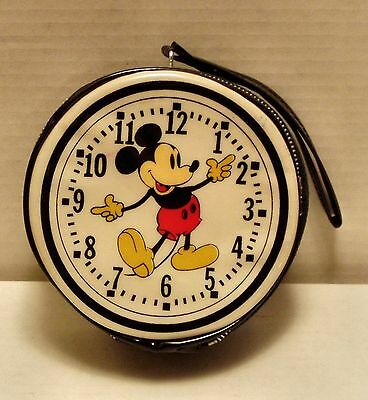 Vintage 60-70's Mickey Mouse- clock 5in dia vinyl zipper case (Hong Kong) Ex-NM