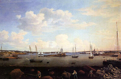 Oil painting Fitz Hugh Lane - Gloucester Harbor with sail boats and busy people