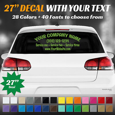 "27"" Custom Car, Truck Door Back Window Decal Business Name Vinyl Sign Lettering"