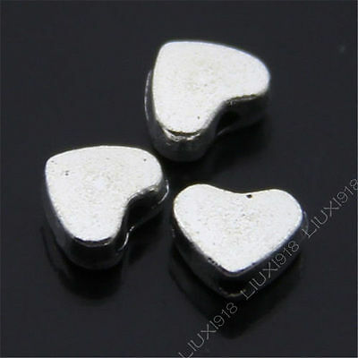 50pc Small Heart-shaped Spacer Beads Retro Tibetan Silver Jewellery Making S477T