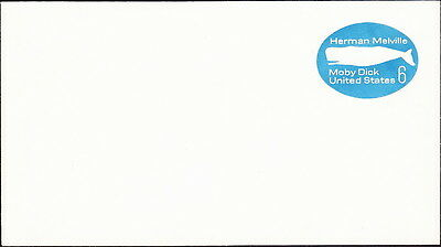 US  1970 - 6 Cents Blue Moby Dick Herman Melville Postal Stationery Entire #U554