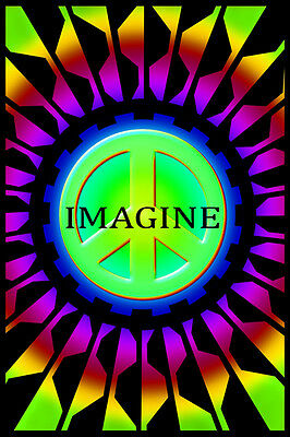 Imagine Peace Blacklight Poster New  !