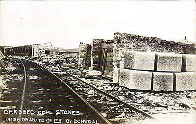 ? Tonbane Quarry Co. Donegal. Irish Granite Co. Stone Dressers at Work. Railway.