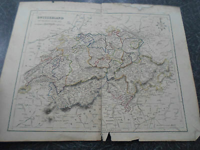 Antique Map SWITZERLAND - From The College Atlas For Schools+Families 1860