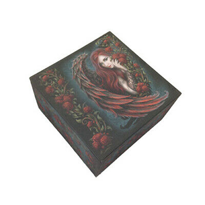 Daemon In Rosa Love Struck Angel Red Roses Jewelry Box Trinket With Mirror