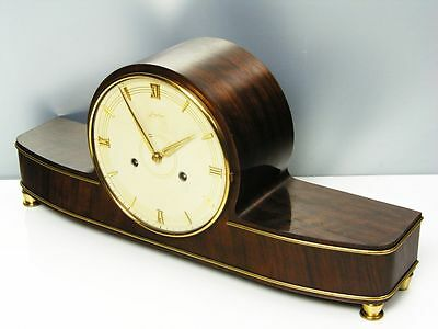 Beautiful Mahagoni  Art Deco Junghans Chiming Mantel Clock  With Pendulum