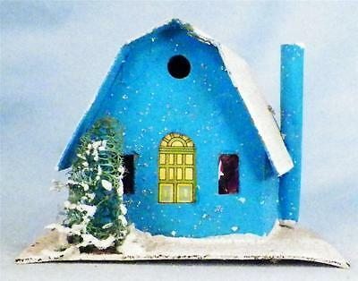 Vintage Christmas House Train Yard Putz Japan Turquoise White Roof & Chimney