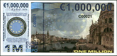 "Prefix ""c"" Polymer 1 Million (1000000) Euro 2015 Venice Greece Fantasy Art Note!"