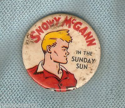 #D165. SNOWY McGANN NEWSPAPER CARTOON  TIN BADGE