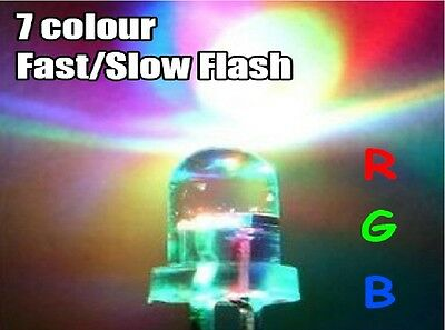 3/5/10mm Ultra Bright 3V Clear RGB LED Bulbs 7 Colour Flash Flashing