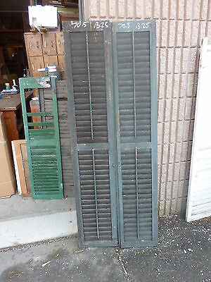 """PaiR victorian louvered house window SHUTTERS crackled PAINT SURFACE 70.5"""" x 13"""""""
