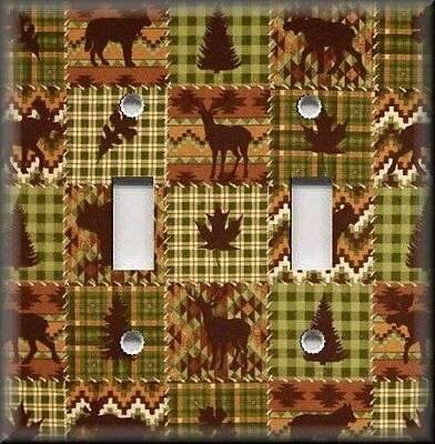 Metal Light Switch Plate Cover - Rustic Bear Moose Cabin Home Decor Green Brown
