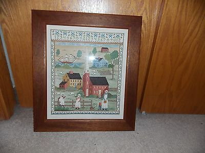Fabulous Large Cross Stitch Sampler Picture 1985 Cathy Needle Craft Colonial