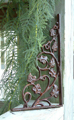 TWO IVY Brackets Cast Iron Wrought Garden Wall Decor