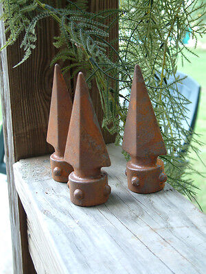 TEN SPIKED SPEAR FINIALS Iron Cast  Wrought Garden Fence