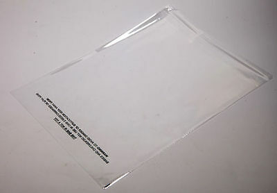 100 14x19 Clear Self Seal Lip & Tape Plastic Bags w/ Suffocation Warning Cello