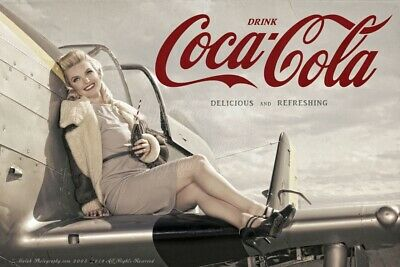 Malak Coca Cola Pin Up Girl Ad Alexa Delicious Refreshing Coke WWII Style Print