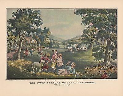 "YOUTH/"" COLOR Lithograph 1952 Vintage Currier /& Ives /""THE FOUR SEASONS OF LIFE"