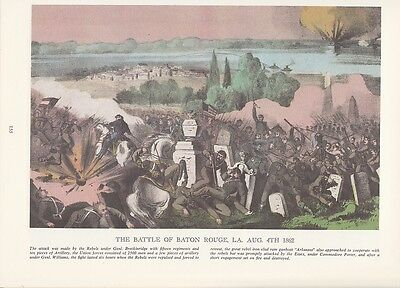 "WAR 1812 COLOR Lithograph 1974 Vintage Currier /& Ives /""THE DEATH OF TECUMSEH/"""