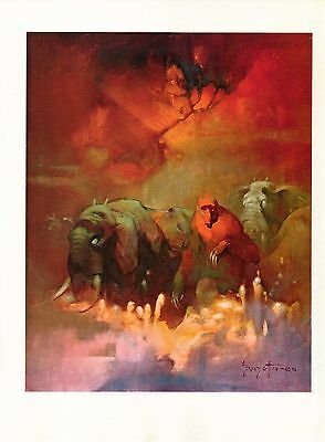"""1977 Full Color Plate """"Downward To The Earth"""" by Frank Frazetta Fantastic GGA"""