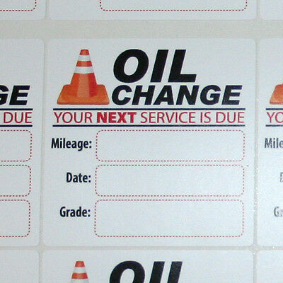 24 Generic Oil Change Reminder Service Stickers, White Low Tack Removable Vinyl