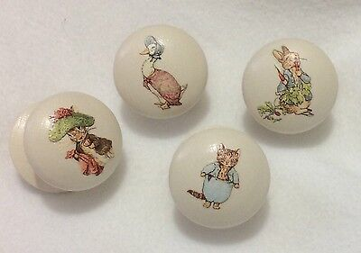 Handpainted Beatrix Potter Peter Rabbit Large Cream 2 Inch Drawer Knobs x 4