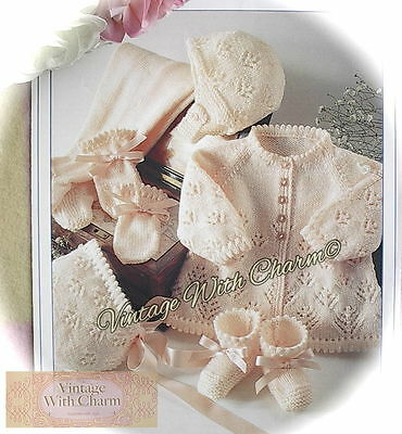Vintage Knitting Pattern Baby's 5 Piece Lace-Look Pram Set JUST £1.69!!