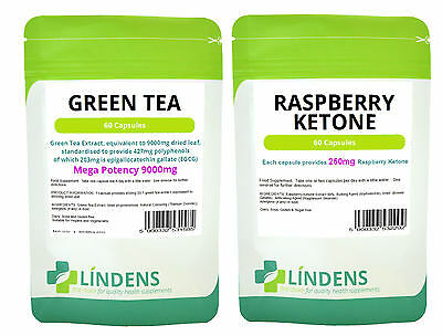 Lindens Green Tea 9000mg + Raspberry Ketone, weight loss 120 capsules, 1 Month