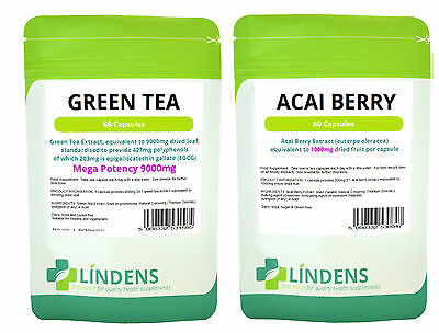 GREEN TEA 9000mg & ACAI Combo, Detox, Weight loss, Fat burner, diet 120 Capsules