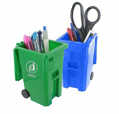 Mini Curbside Trash and Recycle Can Set Pencil Cup Holder Desk Organizer