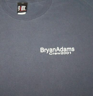 Bryan Adams - NEW 2001 Crew T Shirt -Large $15.00 SALE FREE SHIPPING TO U.S.!