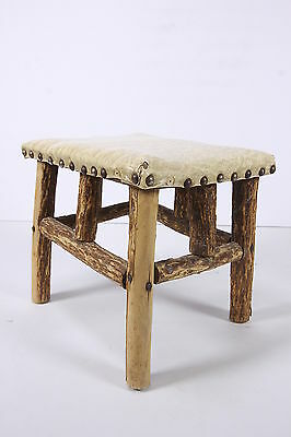 Folk Art Footstool Hand Made Primitive Lodge Rustic Wood Pcs W/ Bark Vinyl Seat