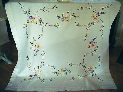 Beautiful Vintage Large Irish Linen Hand Embroidered Tablecloth  Flowers Roses
