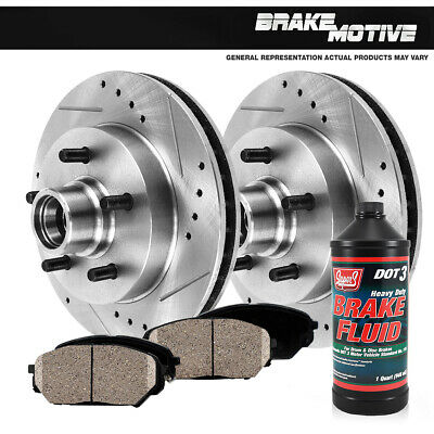 FRONT PERFORMANCE DRILLED AND SLOTTED BRAKE ROTORS & CERAMIC PADS Chevy GMC 2WD