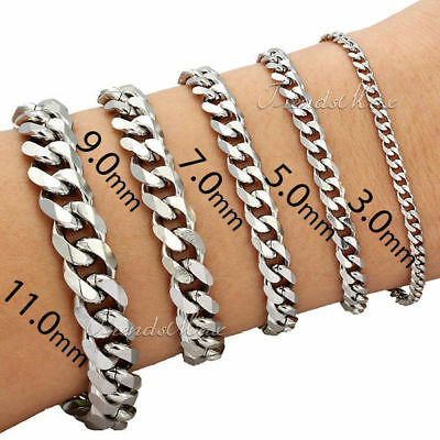 Customize 3/5/7/9/11MM Curb Cuban Silver Stainless Steel Bracelet Mens Chain Boy