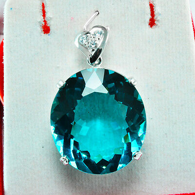 FREE SHIPPING 67.70ct FLAWLESS GREEN SAPPHIRE WHITE SAP 925 SILVER PENDANT
