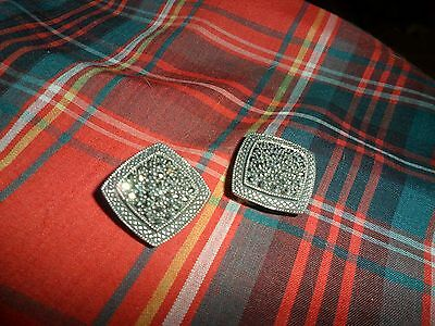 Vintage Sterling Silver 925 Marcasite Clip On Earrings Signed WG 12 Grams VG !