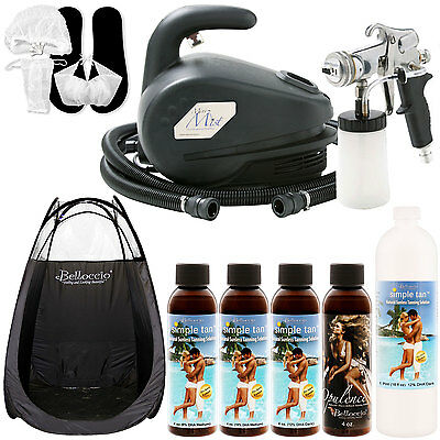 Apollo MINI-MIST DELUXE Sunless Airbrush TANNING SYSTEM Simple 12 Solution Tent