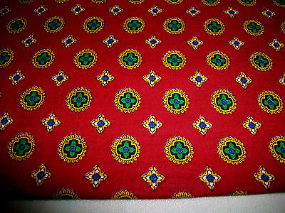 Bright Green Flower Medallions On Red Cotton Fabric